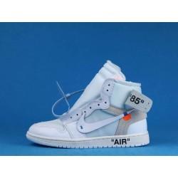 Off White x Air Jordan 1 High White AQ0818-100 Blanc Bleu